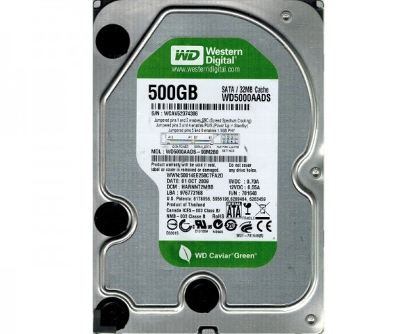 WD 500GB 3.5'' SATA II 32MB IntelliPower WD5000AADS Caviar Green +