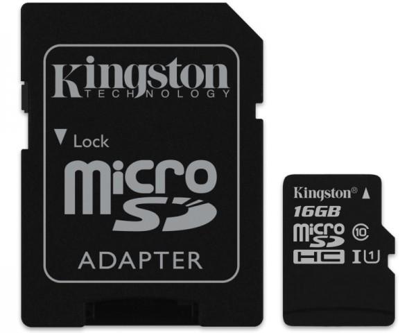 KINGSTON UHS-I MicroSDHC 16GB 80R class 10 SDCS16GB + adapter