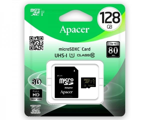 APACER UHS-I MicroSDXC 128GB class 10 + Adapter AP128GMCSX10U1-R