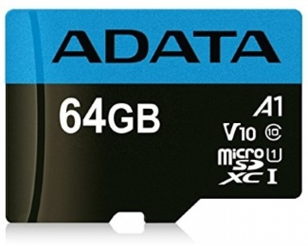 A-DATA UHS-I MicroSDXC 64GB class 10 + adapter AUSDX64GUICL10A1-RA1