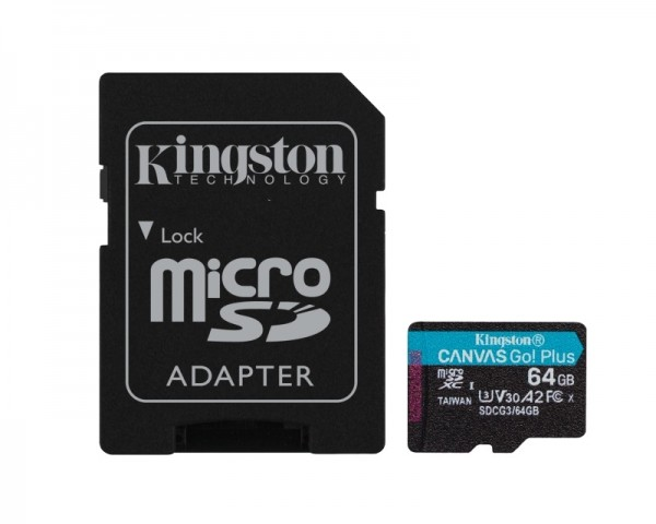KINGSTON U3 V30 microSDXC 64GB Canvas Go Plus 170R A2 + adapter SDCG364GB