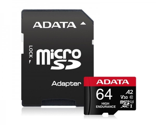A-DATA UHS-I U3 MicroSDXC 64GB V30S class 10 + adapter AUSDX64GUI3V30SHA2-RA1