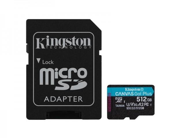 KINGSTON U3 V30 microSDXC 512GB Canvas Go Plus 170R A2 + adapter SDCG3512GB