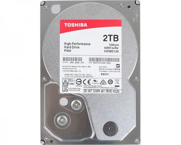 TOSHIBA 2TB 3.5'' SATA III 64MB 7.200rpm HDWD120UZSVA P300 series bulk