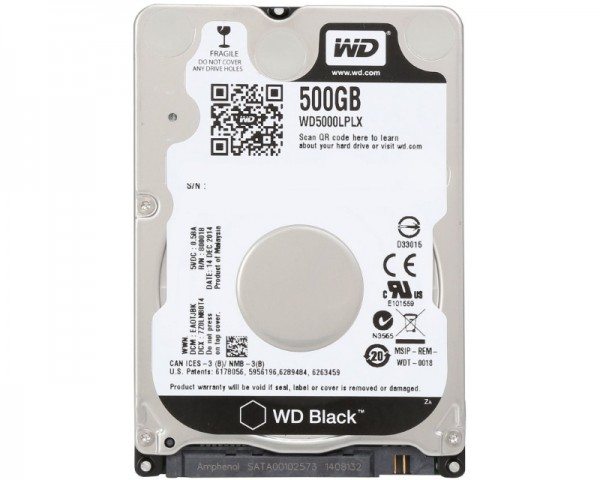 WD 500GB 2.5'' SATA III 32MB 7.200rpm WD5000LPLX Black
