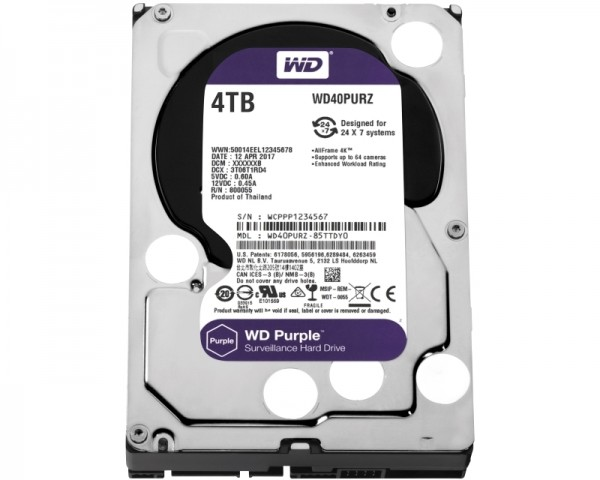 WD 4TB 3.5'' SATA III 64MB IntelliPower WD40PURZ Purple