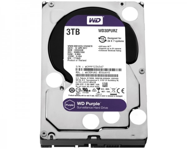 WD 3TB 3.5'' SATA III 64MB IntelliPower WD30PURZ Purple