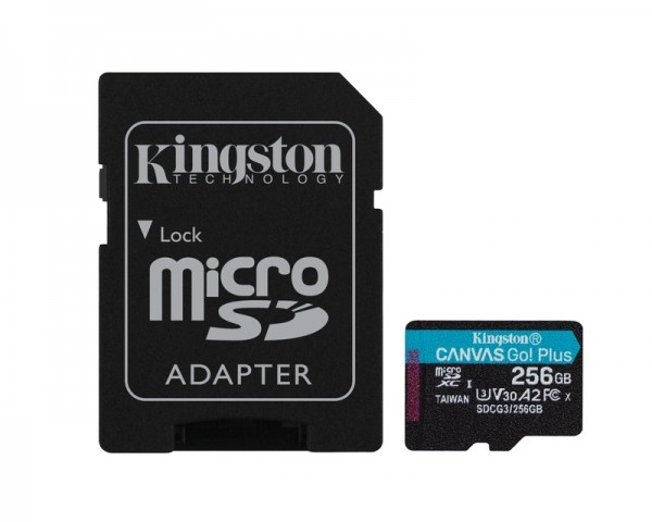 KINGSTON U3 V30 microSDXC 256GB Canvas Go Plus 170R A2 + adapter SDCG3256GB