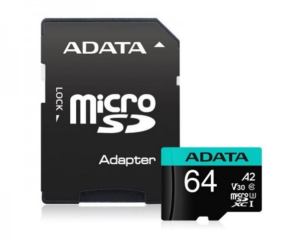 A-DATA UHS-I U3 MicroSDXC 64GB V30S class 10 + adapter AUSDX64GUI3V30SA2-RA1